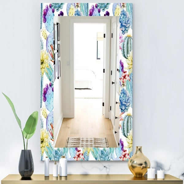 Designart 'Blossoming Cactus With Tropical Flower' Bohemian and Eclectic Mirror - Vanity Mirror - Blue