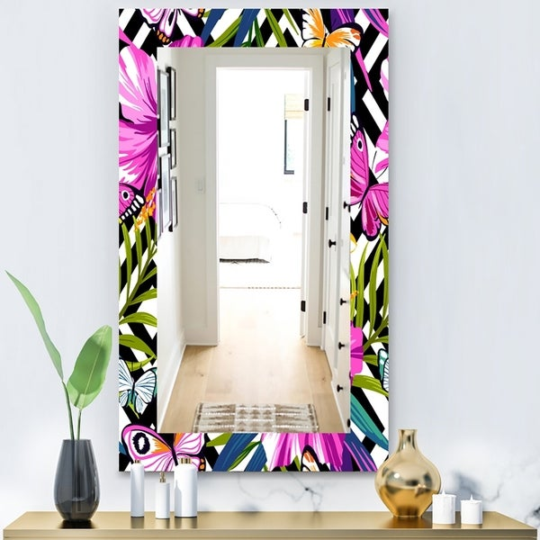 Designart 'Pink Blossom 46' Bohemian and Eclectic Mirror - Vanity Mirror - Purple