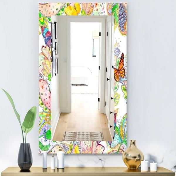 Designart 'Bohemian Butterflies' Bohemian & Eclectic Mirror - Modern Wall Mirror - Blue