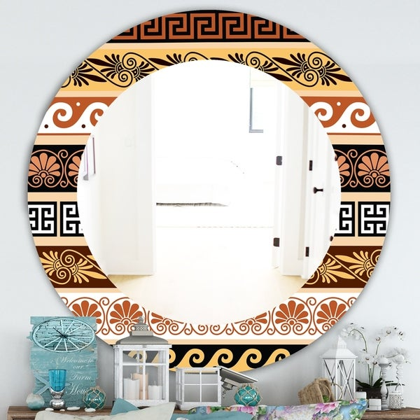 Designart 'Ancient Patterns' Traditional Mirror - Oval or Round Wall Mirror