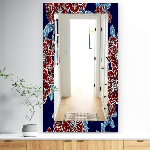 Designart 'Floral Elements In Color' Traditional Mirror - Vanity Mirror - Red