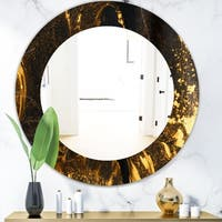 Designart 'Marbled Yellow 9' Glam Wall Mirror - Oval or Round Wall Mirror - Bronze