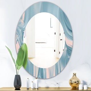 Designart Abstract Water I Traditional Mirror Oval Or Round Wall Mirror Blue 20 In Wide X 30 In High Sportspyder