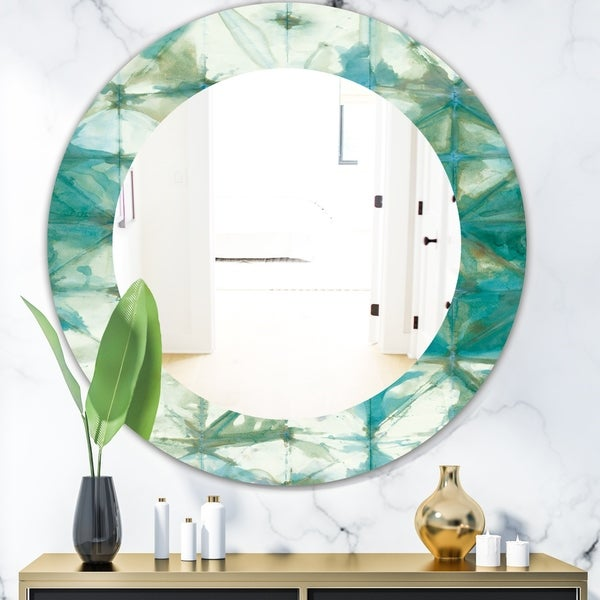 Designart 'Turquoise Watercolor Geometrical III' Mid-Century Mirror - Oval or Round Wall Mirror - Blue