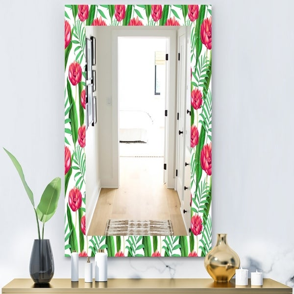 Designart 'Tropical Mood Bright 11' Bohemian and Eclectic Mirror - Wall Mirror - Red