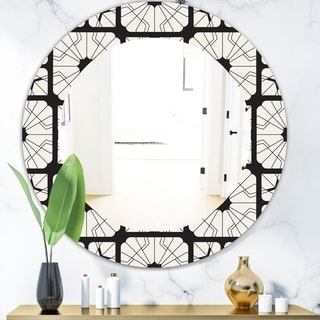 Designart 'Black & White 9' Mid-Century Modern Mirror - Oval or Round Wall Mirror