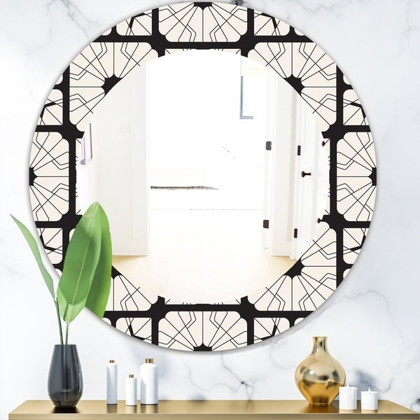 Designart 'Black & White 9' Mid-Century Modern Mirror - Oval or Round Wall Mirror