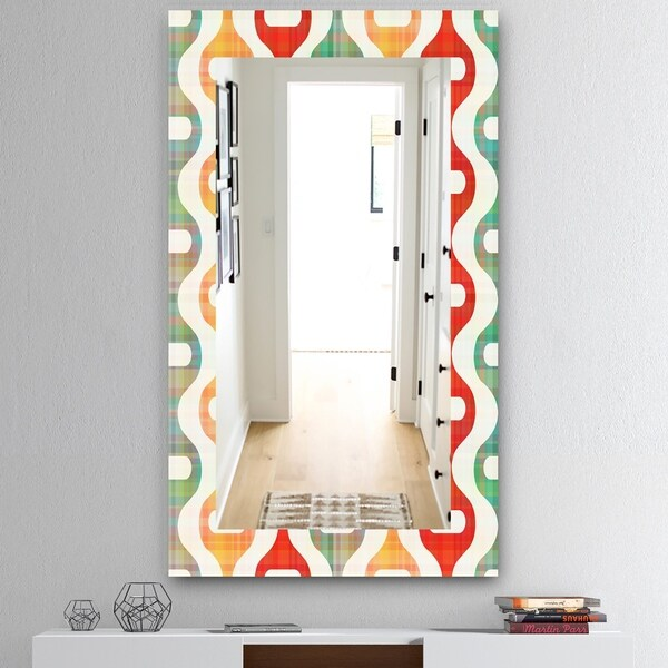 Designart 'Orange Yellow and Green Shapes' Mid-Century Mirror - Vanity Mirror - Red