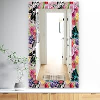 Designart 'Pink Blossom 55' Traditional Mirror - Vanity Mirror - Red