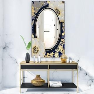 Designart 'Botanical Gold Floral Arrangement I' Glam Mirror - Frameless Vanity Mirror