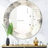 Designart 'Gray Circles I' Modern Mirror - Oval or Round Wall Mirror