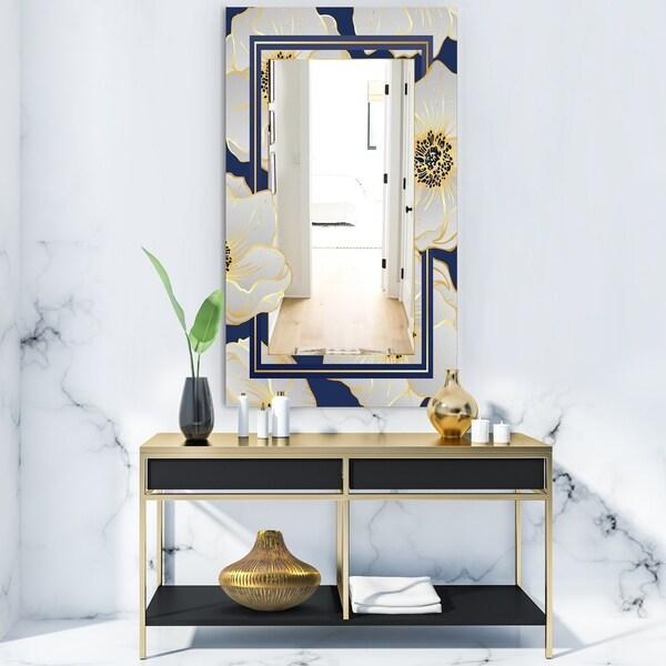 Designart 'Botanical Gold Floral Arrangement II' Glam Mirror - Frameless Vanity Mirror