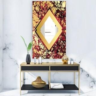 Designart 'Botanical Gold Floral Arrangement' Glam Mirror - Vanity Mirror