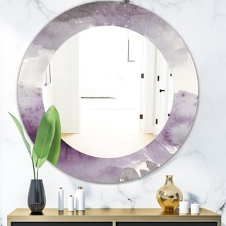 Designart 'Midnight At The Lake II Amethyst and Grey' Modern Mirror - Oval or Round Wall Mirror - Grey