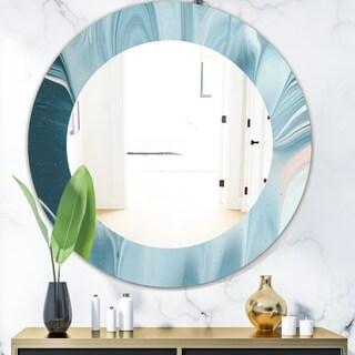 Designart 'Blue Modern Water I' Modern Mirror - Oval or Round Wall Mirror