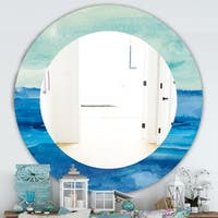 Designart 'Out To Sea' Traditional Mirror - Oval or Round Wall Mirror - Blue