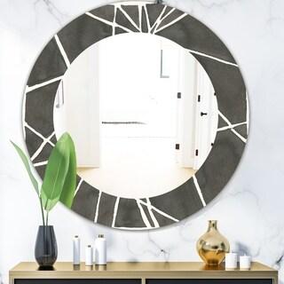 Designart 'Minimalist Graphics II' Mid-Century Mirror - Oval or Round Wall Mirror - Black