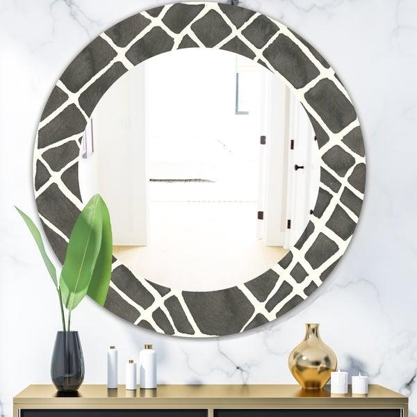 Designart 'Minimalist Graphics V' Mid-Century Mirror - Oval or Round Wall Mirror - Black