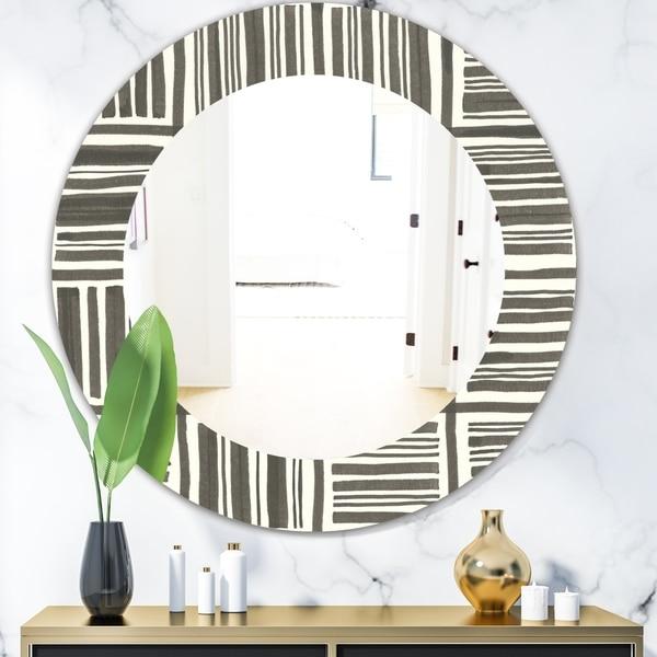 Designart 'Minimalist Graphics I' Mid-Century Mirror - Oval or Round Wall Mirror - Black