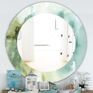 Designart 'Abstract Watercolor Green House' Traditional Mirror - Oval or Round Wall Mirror - Blue