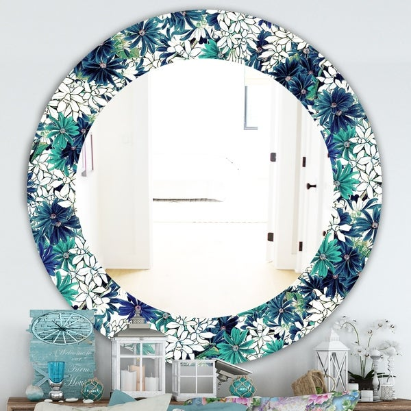 Designart 'Turquoise Of Flowers' Traditional Mirror - Oval or Round Wall Mirror - Blue