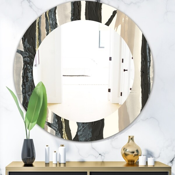 Designart 'Forest Silhouette II' Modern Mirror - Oval or Round Wall Mirror - Black