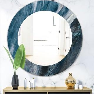 Designart 'Splash Blue Indigo' Modern Mirror - Oval or Round Wall Mirror