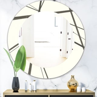 Designart 'Minimalist Black and White III' Mid-Century Mirror - Oval or Round Wall Mirror