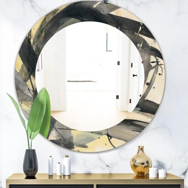 Designart 'Minimalistic Roller IV' Mid-Century Mirror - Oval or Round Wall Mirror - Black