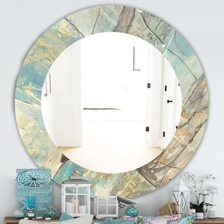Designart 'Mineral Landscape In Blue, Cream and Brown' Traditional Mirror - Oval or Round Wall Mirror - Multi