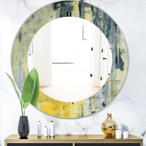 Designart 'Yellow and Black Element' Modern Mirror - Oval or Round Wall Mirror