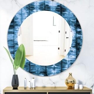 Designart 'Indigo Watercolor Geometrical IV' Mid-Century Mirror - Oval or Round Wall Mirror - Blue