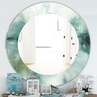 Designart 'Lost Into The Blue' Traditional Mirror - Oval or Round Wall Mirror - Blue