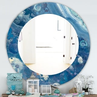 Designart 'Water III' Traditional Mirror - Oval or Round Wall Mirror - Blue
