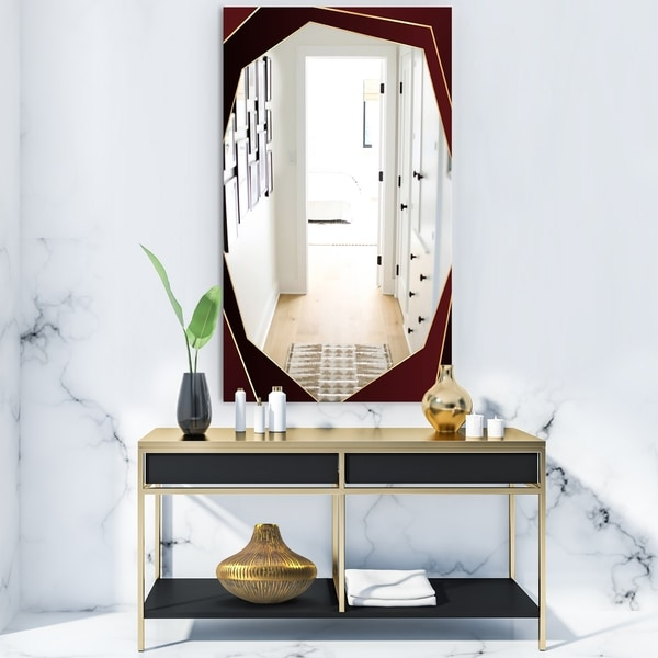 Designart 'Black and Gold Marble Floral Geometric VII' Glam Mirror - Frameless Vanity Mirror - Black/Gold