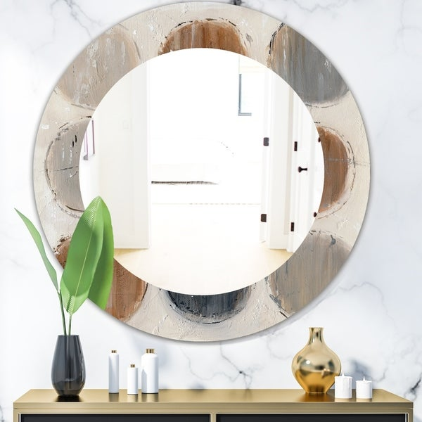 Designart 'Geometric Circle Natural Balance II' Mid-Century Mirror - Oval or Round Wall Mirror - Multi