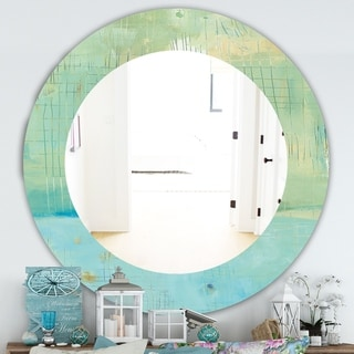 Designart 'Dreaming Of The Shore I' Traditional Mirror - Oval or Round Wall Mirror - Green