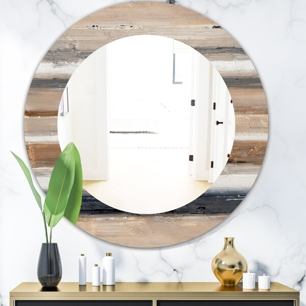 Designart 'Geometric Circle Natural Balance III' Mid-Century Mirror - Oval or Round Wall Mirror - Multi
