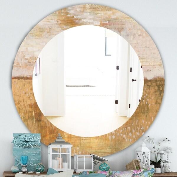 Designart 'Amber Modern Horizon' Traditional Mirror - Oval or Round Wall Mirror - Brown