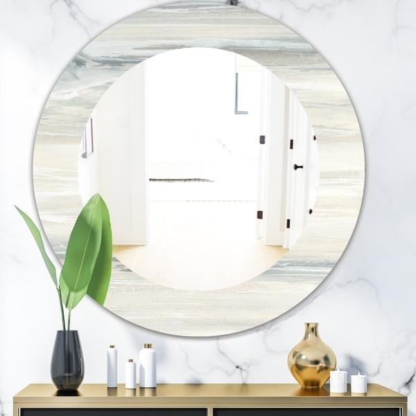Designart 'Watercolor Colorfields I' Modern Mirror - Oval or Round Wall Mirror - Multi