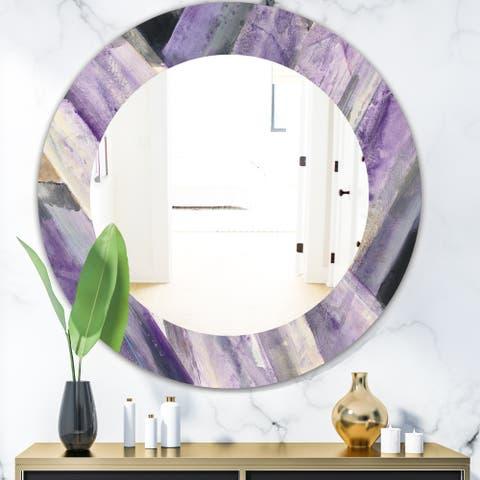 Designart 'Geometric Purple Glacier' Modern Mirror - Oval or Round Wall Mirror