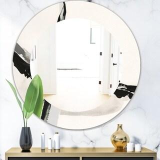 Designart 'Abstract Neutral I' Modern Mirror - Oval or Round Wall Mirror - Black