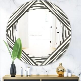Designart 'Minimalist Graphics III' Mid-Century Mirror - Oval or Round Wall Mirror