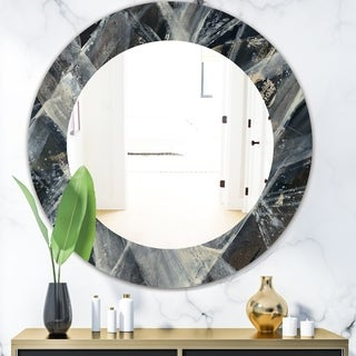 Designart 'Abstract Glacial Black and White Painting' Mid-Century Mirror - Oval or Round Wall Mirror