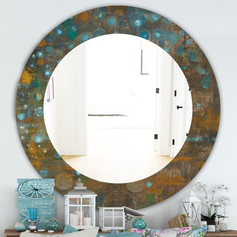 Designart 'Blue and Bronze Dots On Glass IV' Traditional Mirror - Oval or Round Wall Mirror