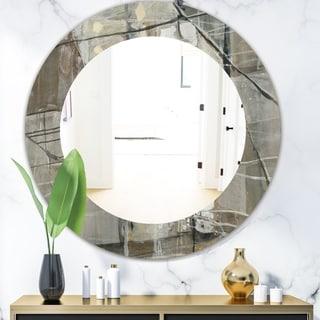 Designart 'Grey Silver Geometric Composition' Modern Mirror - Oval or Round Wall Mirror - Grey/Silver