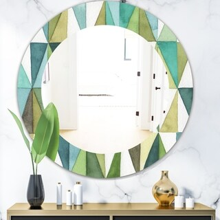 Designart 'Geometric Green Triangle III' Mid-Century Mirror - Oval or Round Wall Mirror