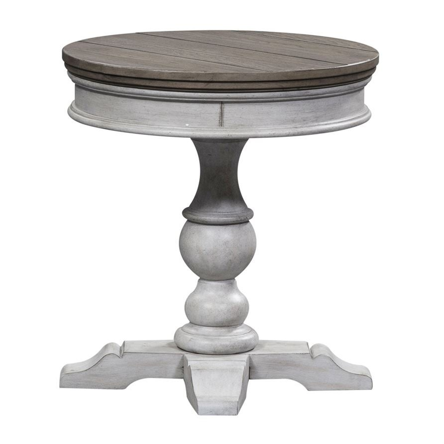- Shop Heartland Antique White Round Pedestal Chair Side Table
