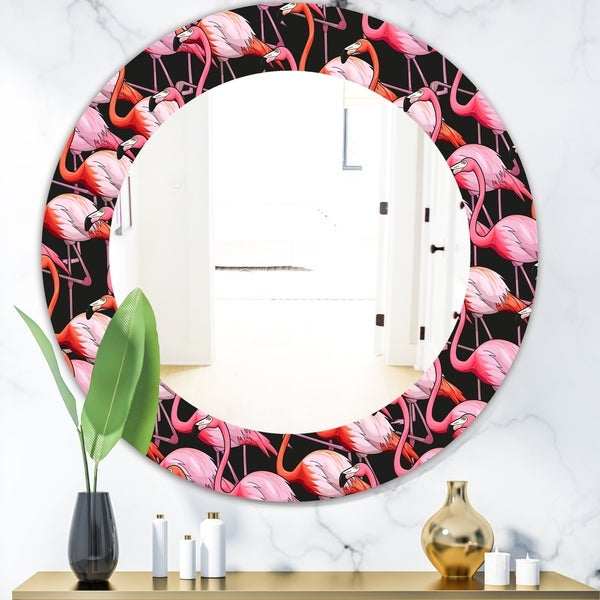 Designart 'Flamingo 3' Bohemian and Eclectic Mirror - Oval or Round Wall Mirror - Black