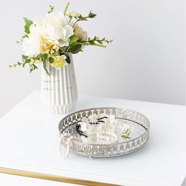 Egnazia - Silver Metal Mirror Tray - Medium Rounded Modern Floral